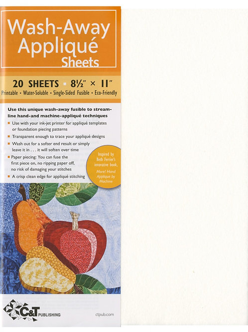 Wash Away Applique Sheets x 20