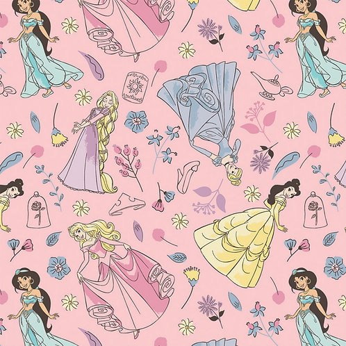 FLANNEL - Disney Princess Pink Flannel Fabric