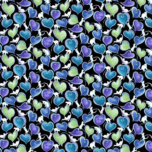 Catitute Singing the Blues Cat and Hearts Fabric with Metallic