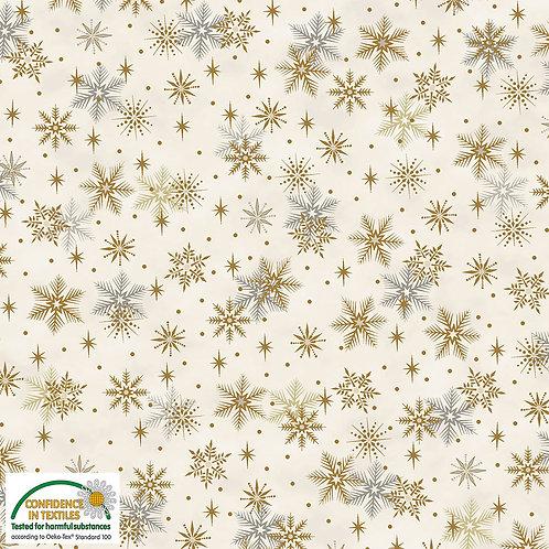 Stof Magic Christmas Fabric - Gold Snowflakes Cream Metallic