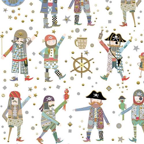 Arrr Matey Pirate Fabric - White