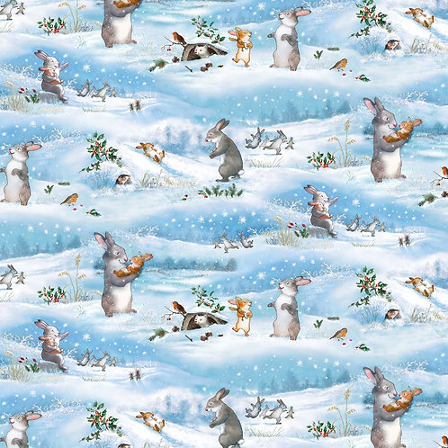 Blue Snow Play Day Fabric