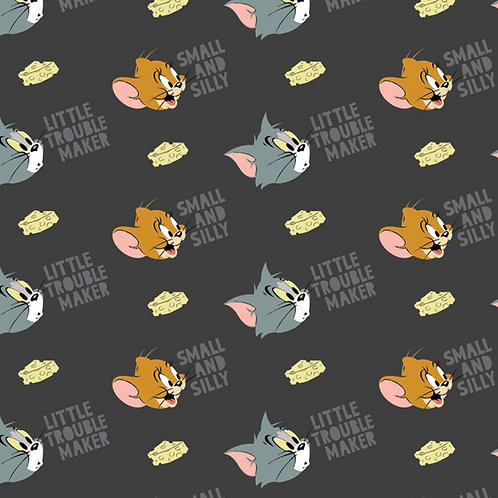 Tom and Jerry Character Fabric - Dark Grey