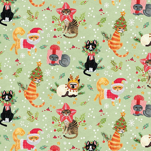 Not Ameowsed Christmas Cats Fabric