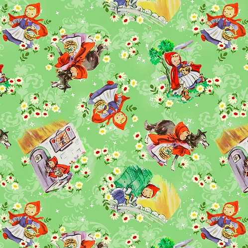 Vintage Storybook Little Red Riding Hood Fabric