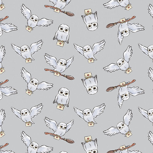 Harry Potter Hedwig Fabric - Grey