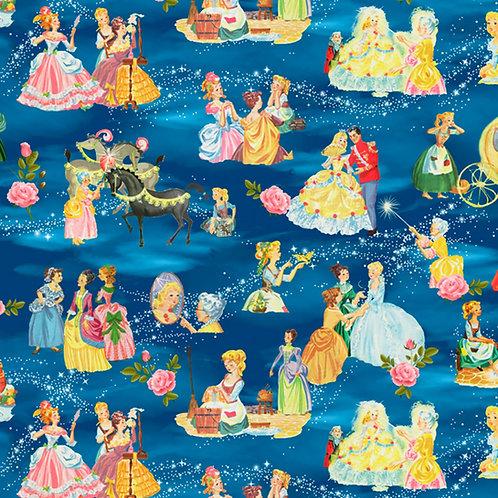Vintage Storybook Cinderella's Tale Allover Fabric