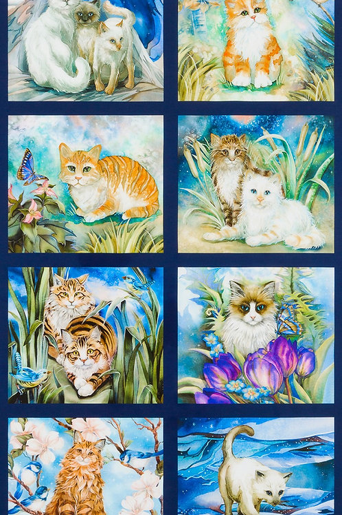 Garden Cat Fabric Panel