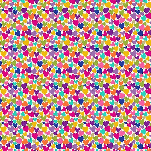Makower Katie's Cats Scattered Hearts Cream with Metallic