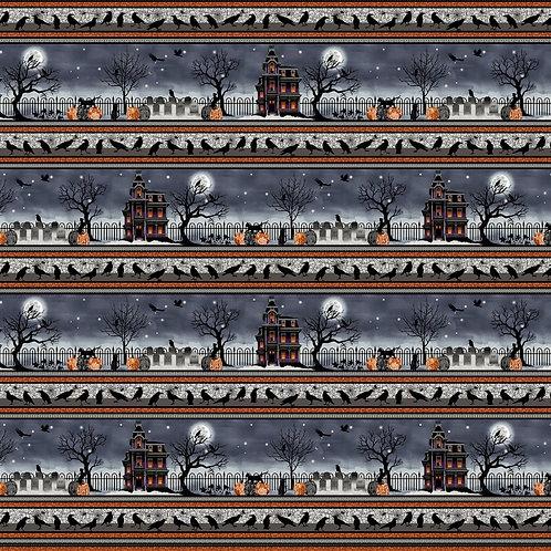 Spooky Night Black Border Fabric