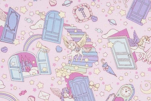 Fairy Tales II Pink Doors Fabric
