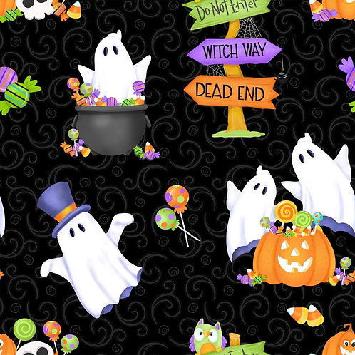 Glow Ghosts Black Ghosts Pumpkins and Candy Glow In The Dark Fabric