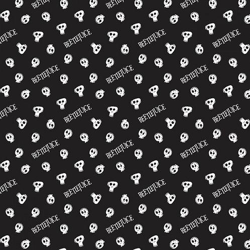 LP Beetlejuice Tossed Skulls Fabric - Black