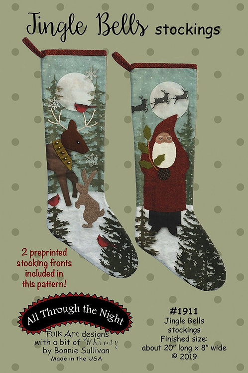 Jingle Bells Stockings Pattern with Preprinted Panel
