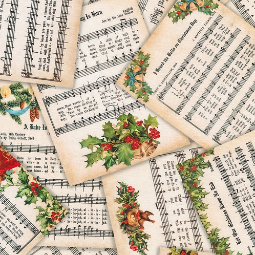 Letters Vintage Christmas Fabric