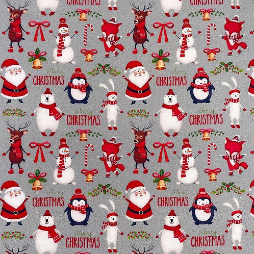 Merry Christmas Silver Fabric
