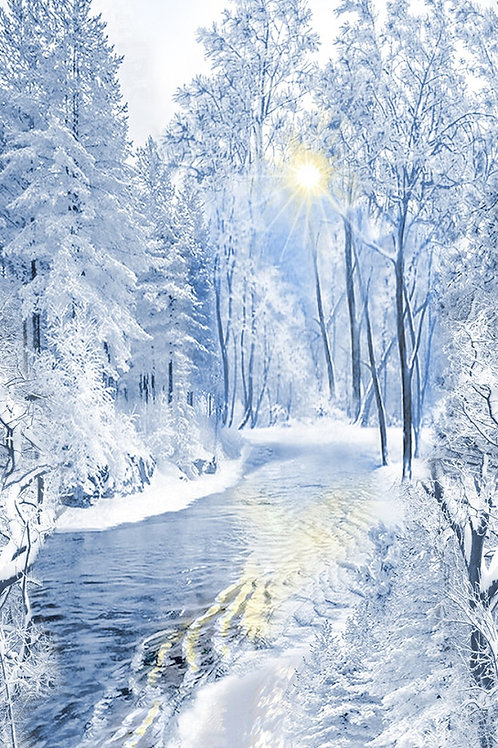 Blue Snowy Forest Panel
