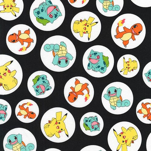Black Pokemon Circles Fabric