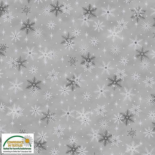 LP Stof Magic Christmas Fabric - Silver Snowflakes Grey Metallic