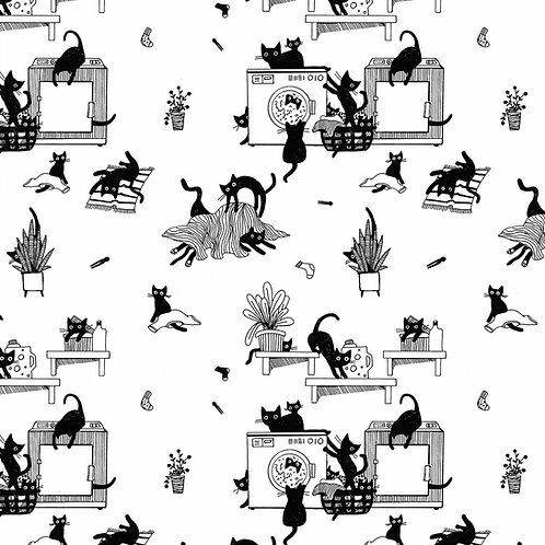 Mischievous Cats Fabric