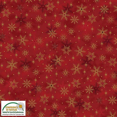 Stof Magic Christmas Fabric - Gold Snowflakes Red Metallic