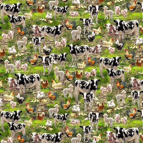 Cows, Chickens and Roosters Fabric