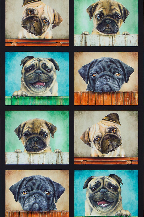Sweet Puppy Pug Fabric Panel
