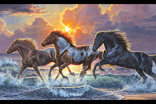 Black Against The Wind Horse Panel 24in
