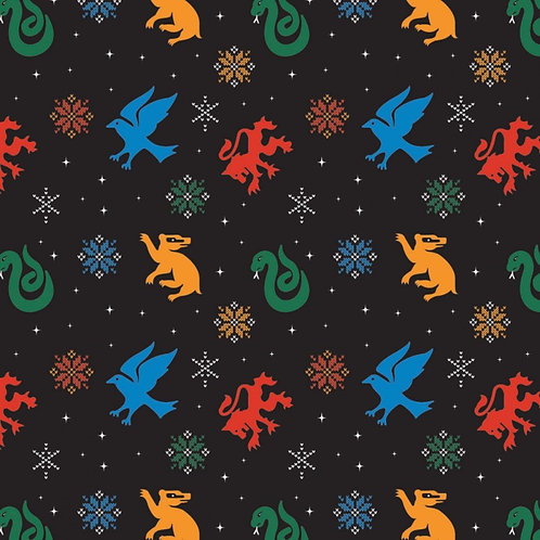 Harry Potter Snowflake Houses Christmas Fabric