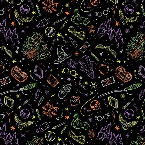 Harry Potter Artefacts Toss Halloween Fabric