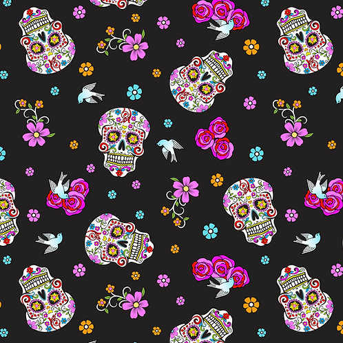 Day of the Dead Halloween Fabric withGlitter