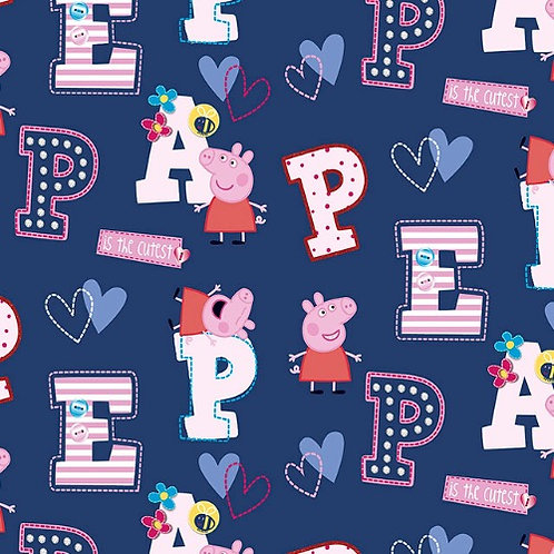 Peppa Pig Letters Navy Fabric