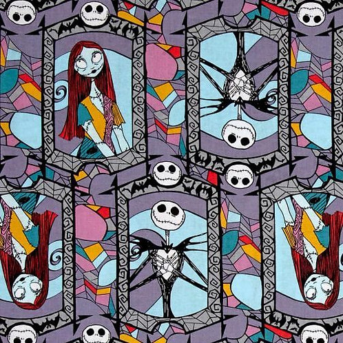 Nightmare Before Christmas Jack and Sally Stained Glass Window Fabric