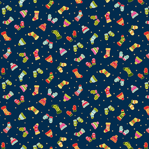 Mittens Blue Santas Express Fabric Makower 2383-B