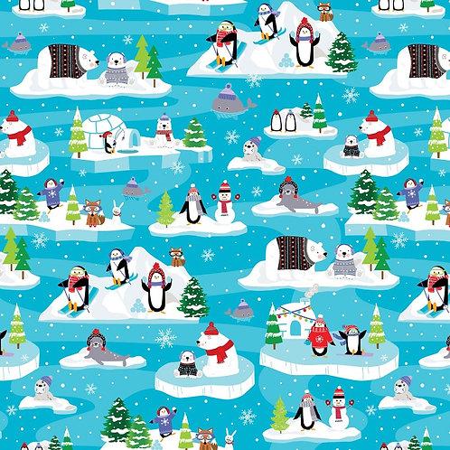Snow Fun Turquoise Scenic Fabric
