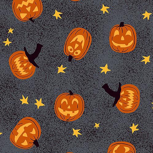 Midnight Haunt Jack-O-Lantern Fabric - Granite