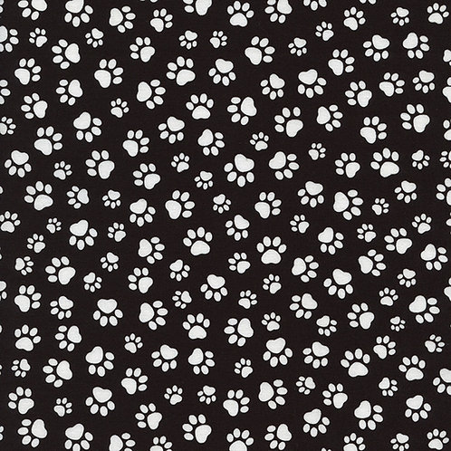 Black and White Paws Fabric