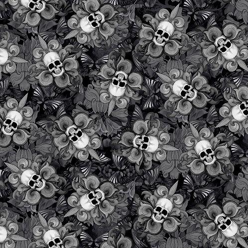 Black Tossed Skull Fleur De Lis Halloween Fabric