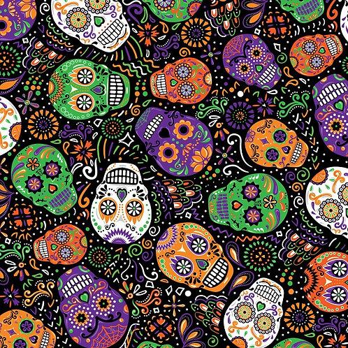 Black Day of the Dead Mardi Gras Fabric
