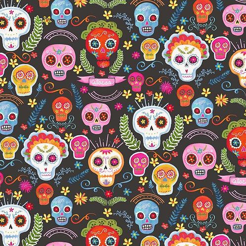 Charcoal La Vida Loca Candy Skulls Halloween Fabric