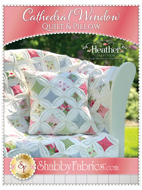 Heather Cathedral Window Quilt and Pillow Pattern