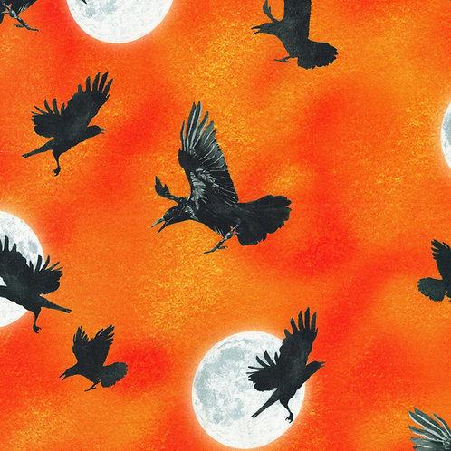 Pumpkin Raven Moon Fabric