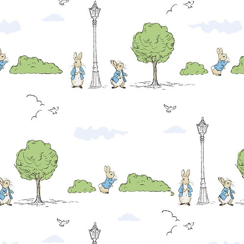 London Park White Peter Rabbit Fabric