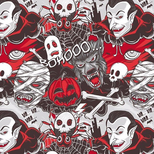 Halloween Characters Red and Black Poplin Fabric