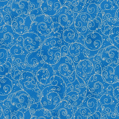 Holiday Flourish 14 Fine Swirls Blue with metallic Fabric