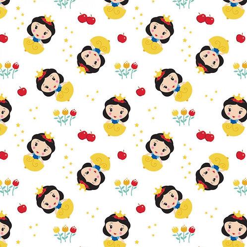 Disney Cute Snow White Toss Kawaii Floral Fabric