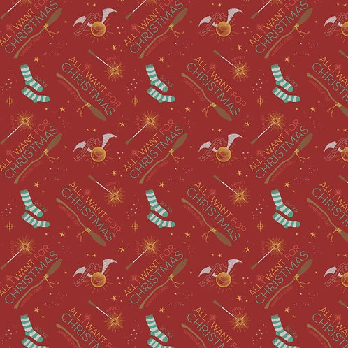 Harry Potter All I Want For Christmas Fabric
