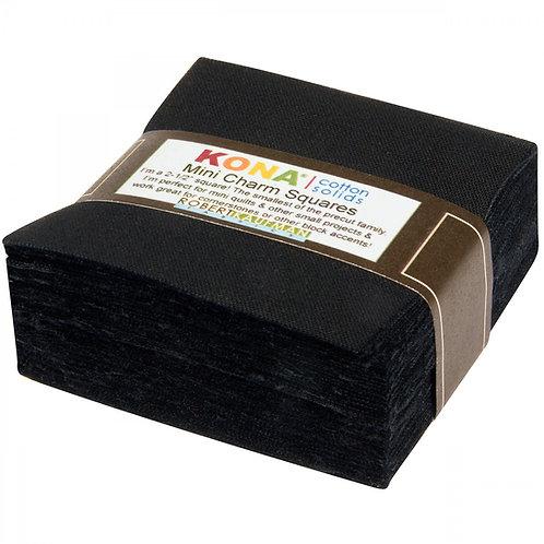 Kona Solids Mini Charm Pack Black