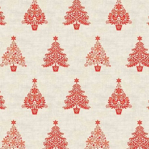 Red Tree Makower Scandi Christmas Fabric