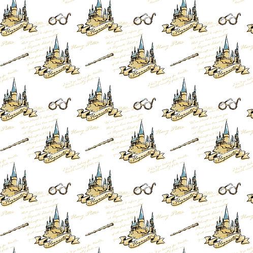 Harry Potter Hogwarts School Fabric - White